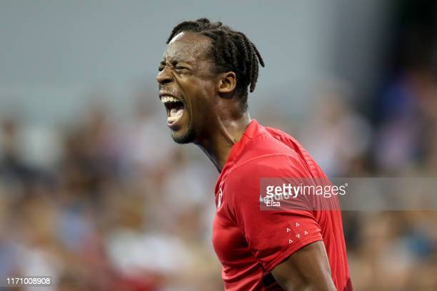 Gael Monfils of France reacts during his Men's Singles second round match against Marius Copil of Romania on day four of the 2019 US Open at the USTA...