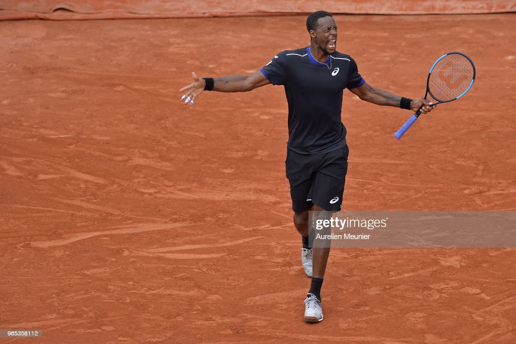Gael Monfils of France reacts during his mens singles third round match against David Goffin of Belgium during day 6 of the 2018 French Open at Roland Garros on June 1, 2018 in Paris, France.