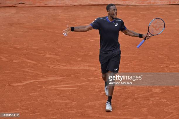 Gael Monfils of France reacts during his mens singles third round match against David Goffin of Belgium during day 6 of the 2018 French Open at...