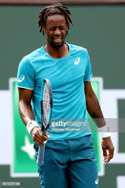 Gael Monfils of France reacts to a lost point to PierreHugues Herbert of France during the BNP Paribas Open at the Indian Wells Tennis Garden on...