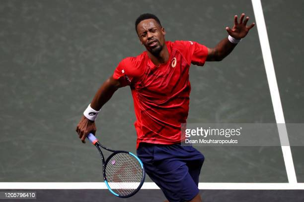 Gael Monfils of France reacts to a missed point against Joao Sousa of Portugal during Day 5 of the ABN AMRO World Tennis Tournament at Rotterdam Ahoy...