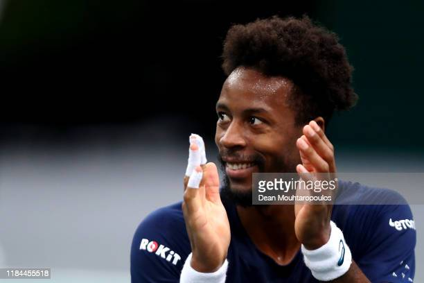 Gael Monfils of France reacts to a point in his match against Benoit Paire of France on day 3 of the Rolex Paris Masters, part of the ATP World Tour...
