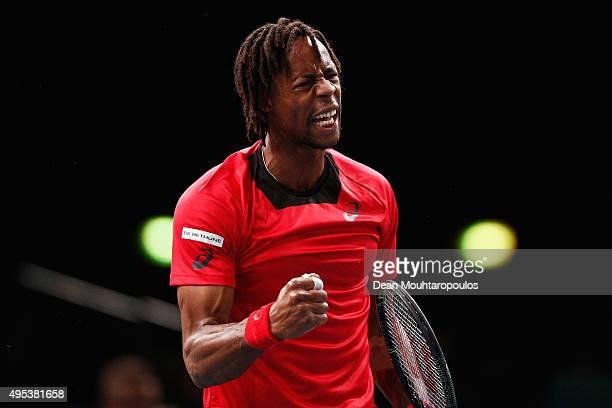 Gael Monfils of France reacts to a won point against Benoit Paire of France during Day 1 of the BNP Paribas Masters held at AccorHotels Arena on...