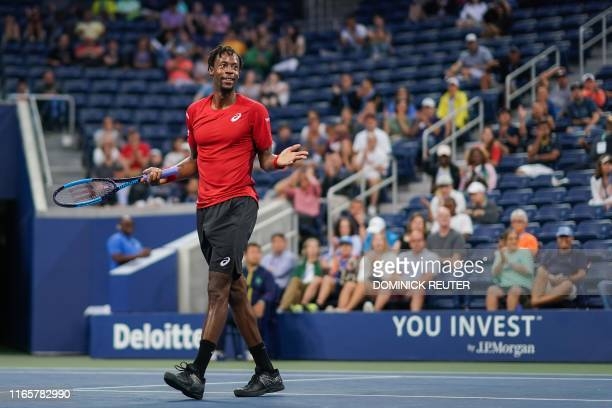 Gael Monfils of France reacts to his point against Pablo Andujar of Spain in their Round Four Men's Singles tennis match during the 2019 US Open at...