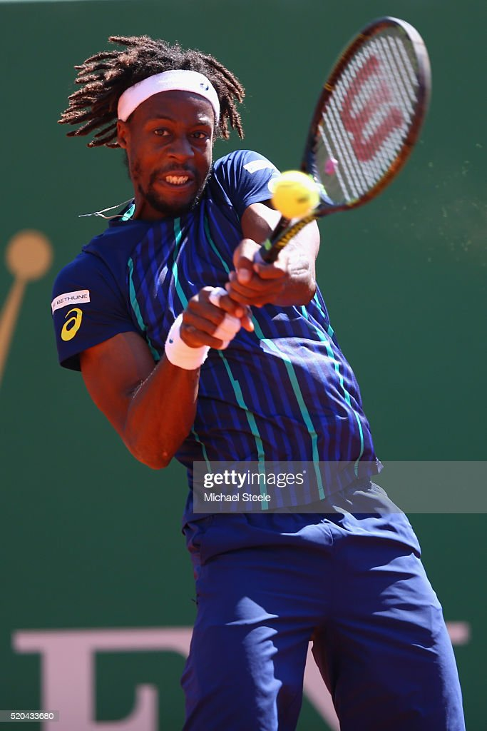 Gael Monfils of France returns a backhand during his match against Gilles Muller of Luxemburg during day two of the Monte Carlo Rolex Masters at Monte-Carlo Sporting Club on April 11, 2016 in Monte-Carlo, Monaco.
