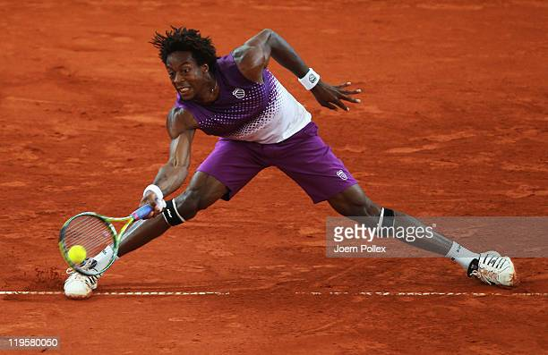 Gael Monfils of France returns a forehand during his quarter final match against Gilles Simon of France during the betathome German Open Tennis...