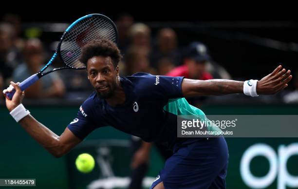 Gael Monfils of France returns a forehand in his match against Benoit Paire of France on day 3 of the Rolex Paris Masters, part of the ATP World Tour...
