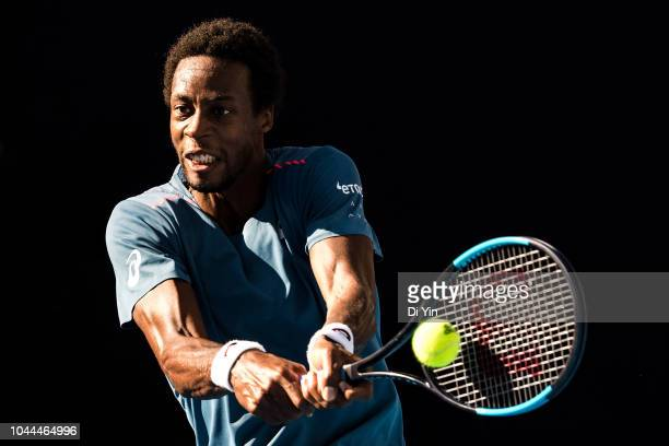 Gael Monfils of France returns a shot against Fernando Verdasco of Spain during his Men's Singles first Round match of the 2018 China Open at the...