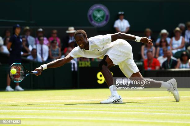Gael Monfils of France returns a shot against Sam Querrey of the United States during their Men's Singles third round match on day five of the...