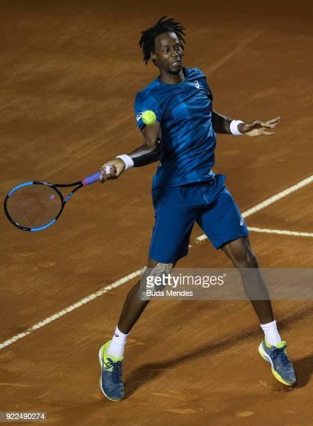 Gael Monfils of France returns a shot to Marin Cilic of Croatia during the ATP Rio Open 2018 at Jockey Club Brasileiro on February 21 2018 in Rio de...