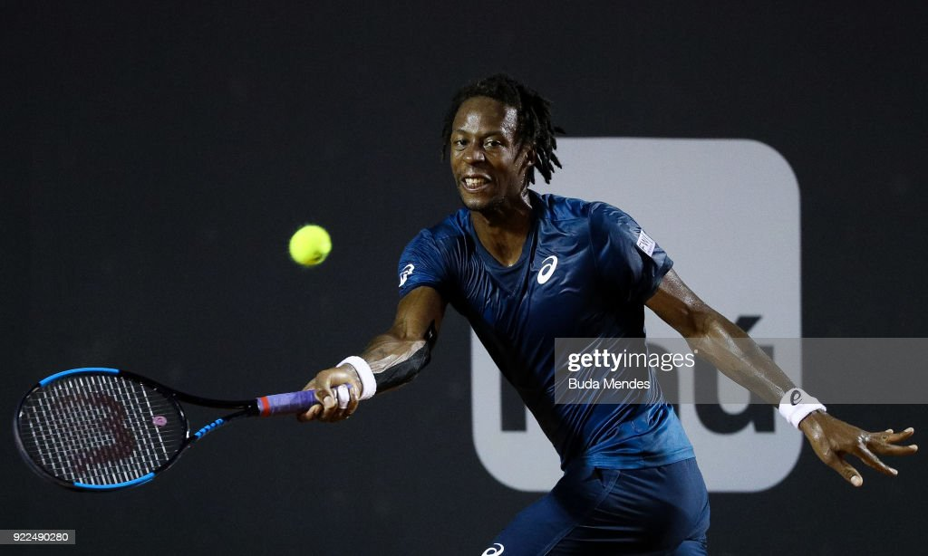 Gael Monfils of France returns a shot to Marin Cilic of Croatia during the ATP Rio Open 2018 at Jockey Club Brasileiro on February 21, 2018 in Rio de Janeiro, Brazil.