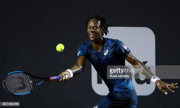 Gael Monfils of France returns a shot to Marin Cilic of Croatia during the ATP Rio Open 2018 at Jockey Club Brasileiro on February 21 2018 in Rio de...