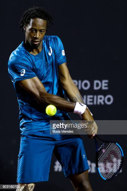 Gael Monfils of France returns a shot to Marin Cilic of Croatia during the ATP Rio Open 2018 at Jockey Club Brasileiro on February 22 2018 in Rio de...