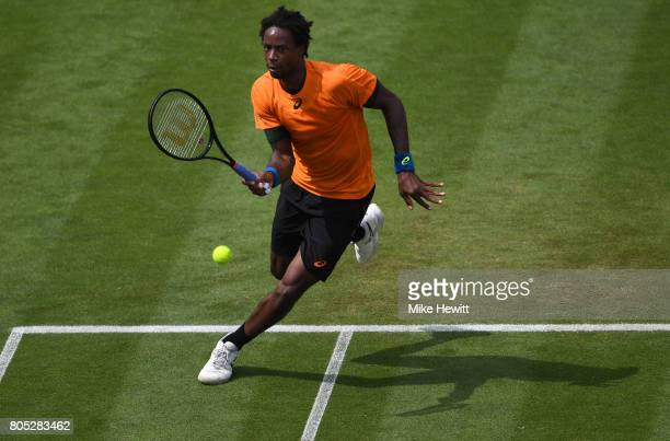Gael Monfils of France returns the ball during his mens singles final against Novak Djokovic of Sebia on day seven of the Aegon International...