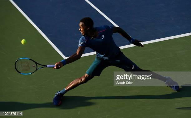 Gael Monfils of France returns the ball during his men's singles first round match against Facundo Bagnis of Argentina on Day Two of the 2018 US Open...