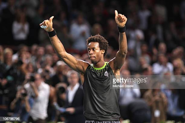 Gael Monfils of France salutes the crowd following his 6226 63 quarterfinal victory against Andy Murray of Great Britain during Day Six of the ATP...