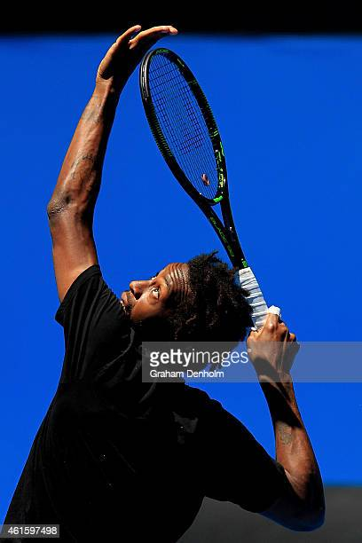 Gael Monfils of France serves during a practice session ahead of the 2015 Australian Open at Melbourne Park on January 16 2015 in Melbourne Australia