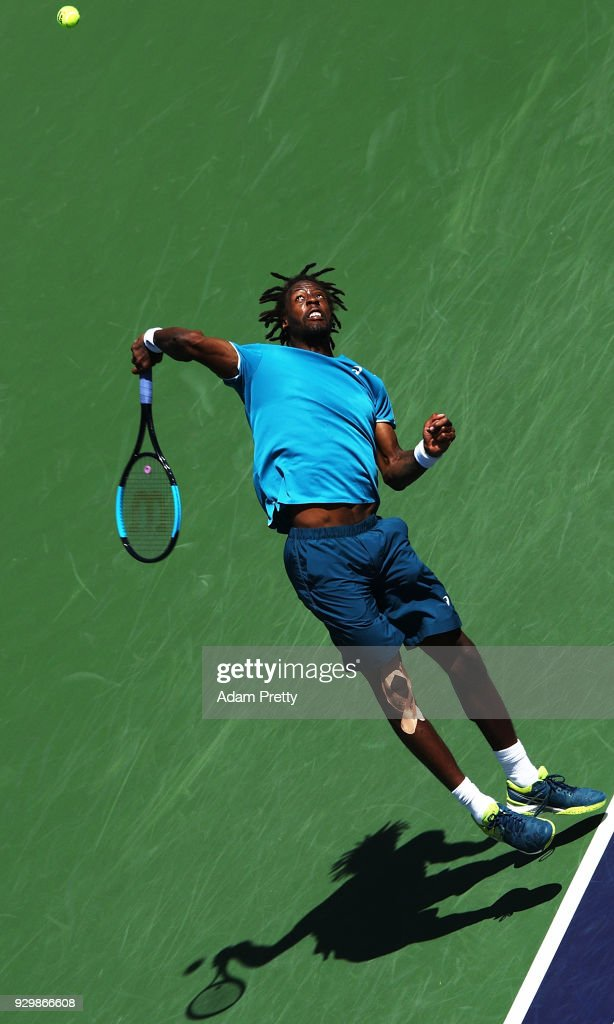 Gael Monfils of France serves during his match against Matthew Ebden of Australia during the BNP Paribas Open at the Indian Wells Tennis Garden on March 9, 2018 in Indian Wells, California.