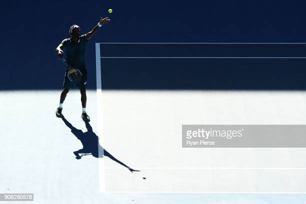 Gael Monfils of France serves during his second round match against Novak Djokovic of Serbia on day four of the 2018 Australian Open at Melbourne...