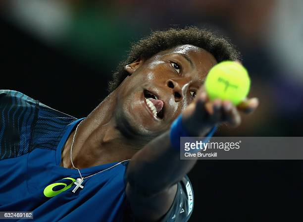 Gael Monfils of France serves in his fourth round match against Rafael Nadal of Spain on day eight of the 2017 Australian Open at Melbourne Park on...