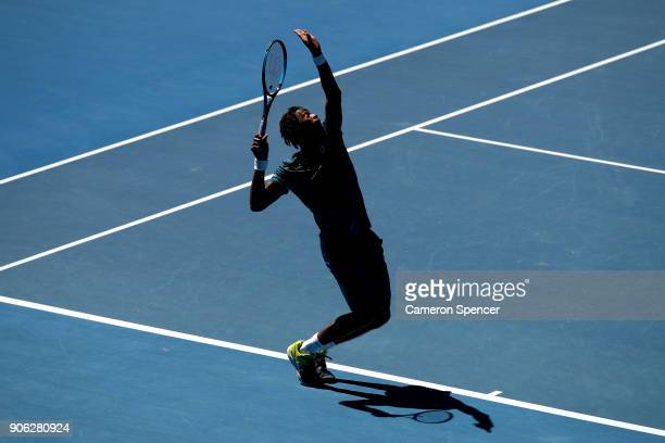 Gael Monfils of France serves in his second round match against Novak Djokovic of Serbia on day four of the 2018 Australian Open at Melbourne Park on...