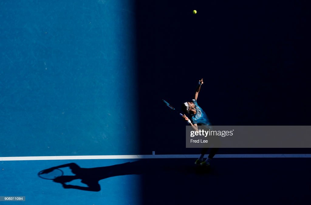 Gael Monfils of France serves in his second round match against Novak Djokovic of Serbia on day four of the 2018 Australian Open at Melbourne Park on January 18, 2018 in Melbourne, Australia.
