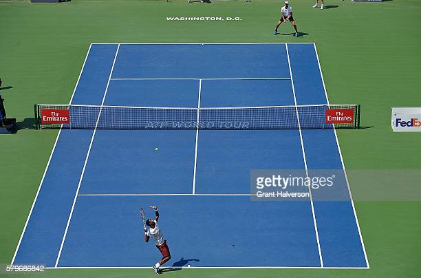 Gael Monfils of France serves to Ivo Karlovic of Croatia in the men's singles final of the Citi Open at Rock Creek Tennis Center on July 24, 2016 in...