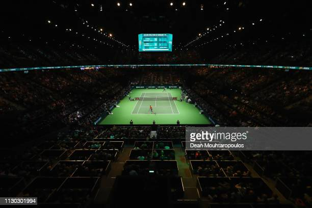 Gael Monfils of France serves to Stan Wawrinka of Switzerland in their Mens Final during Day 7 of the ABN AMRO World Tennis Tournament at Rotterdam...