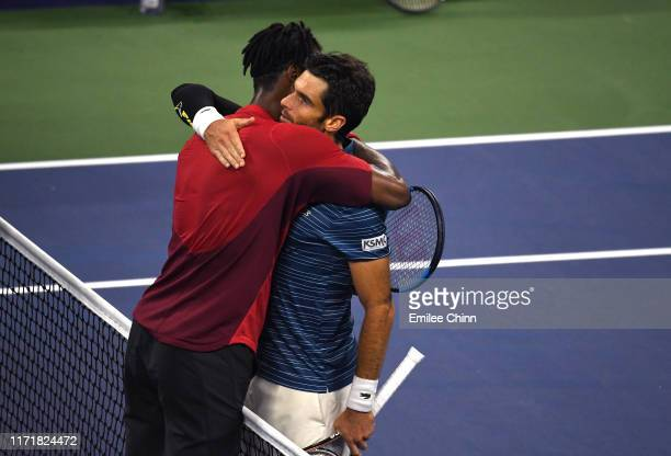 Gael Monfils of France shakes hands with Pablo Andujar of Spain following their Men's Singles fourth round match on day eight of the 2019 US Open at...