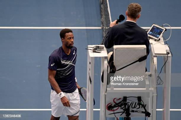 Gael Monfils of France surrenders in his match against Pablo Carreno Busta of Spain during day three of the Erste Bank Open tennis tournament at...