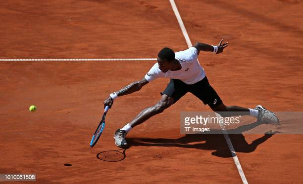 Gael Monfils of France takes a backhand during the German Tennis Championships at Rothenbaum on July 24 2018 in Hamburg Germany