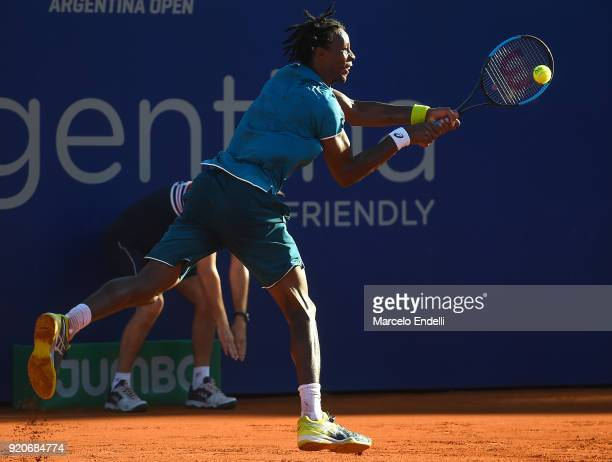 Gael Monfils of France takes a backhand shot during a semifinal match against Dominic Thiem of Austria as part of ATP Argentina Open at Buenos Aires...