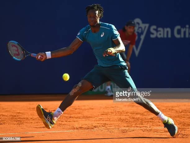 Gael Monfils of France takes a forehand shot during a semifinal match against Dominic Thiem of Austria as part of ATP Argentina Open at Buenos Aires...