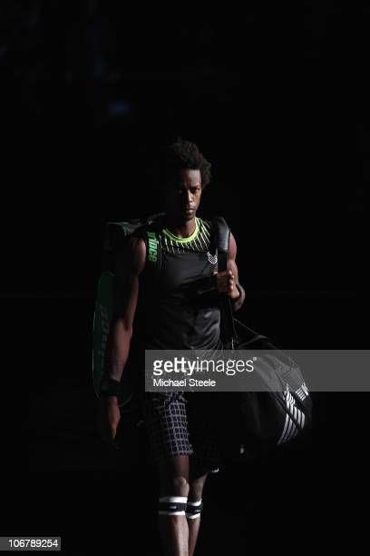 Gael Monfils of France walks onto centre court prior to his quarterfinal match against Andy Murray of Great Britain during Day Six of the ATP Masters...