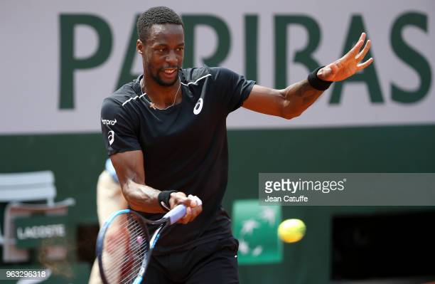 Gael Monfils of France winning against Elliot Benchetrit of France during Day One of the 2018 French Open at Roland Garros stadium on May 27 2018 in...