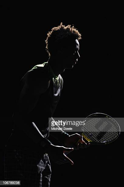 Gael Monfils of Francewarms up prior to his quarterfinal match against Andy Murray of Great Britain during Day Six of the ATP Masters Series Paris at...