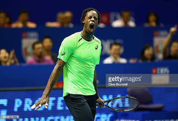 Gael Monfils of the Indian Aces celebrates a point against Tomas Berdych of the Singapore Slammers during the CocaCola International Premier Tennis...