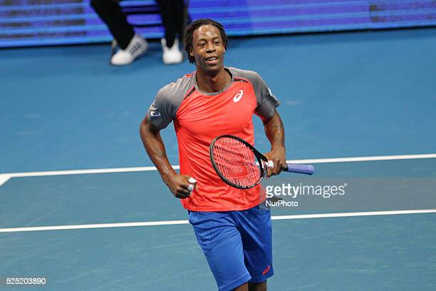 Gael Monfils of the Indian Aces reacts after scoring a point against Lleyton Hewitt of the Singapore Slammers during their singles match at the...