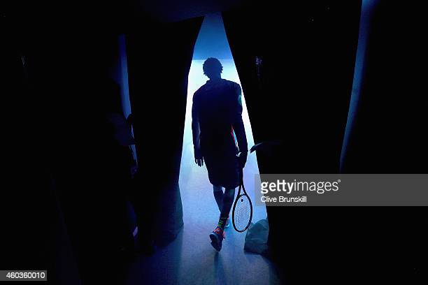 Gael Monfils of the Indian Aces walks out for his teams match against the Manila Mavericks during the Coca-Cola International Premier Tennis League...