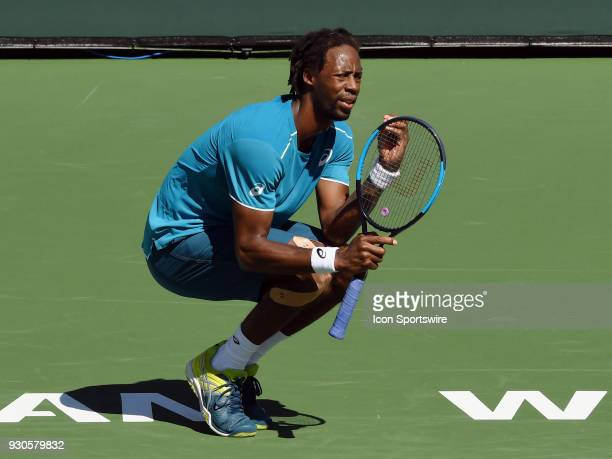 Gael Monfils reacts after missing a shot during the first set of a match played during the BNP Paribas Open played on March 11 2018 at the Indian...