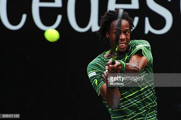 Gael Monfils returns the ball with a backhand during a match against Rafael Nadal in the Mercedes Cup semifinals in Stuttgart on June 13 2015