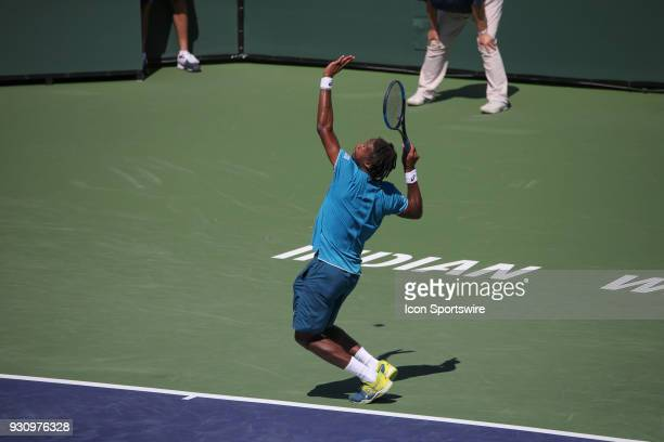 Gael Monfils serves during the BNP Paribas Open on March 11 2018 at the Indian Wells Tennis Garden in Indian Wells CA