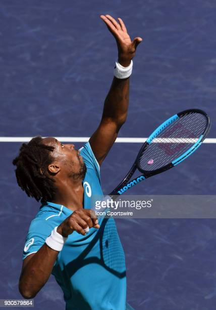 Gael Monfils serving during the first set of a match played during the BNP Paribas Open played on March 11 2018 at the Indian Wells Tennis Garden in...