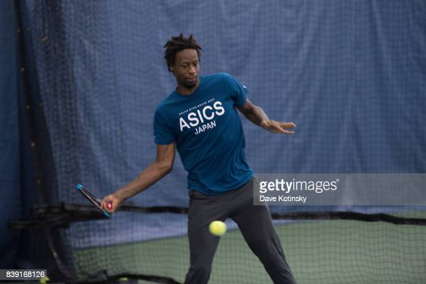 Gael Monfils surprises and join unsuspecting fans for A few games on court fans at Arthur Ashe Stadium on August 25 2017 in New York City