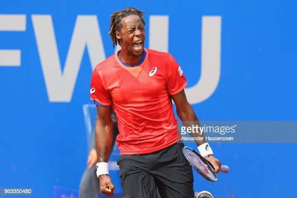 Gael Monflis of France reacts during his first round match against Mirza Basic of Bosnia and Herzegovina on day 4 of the BMW Open by FWU at MTTC...