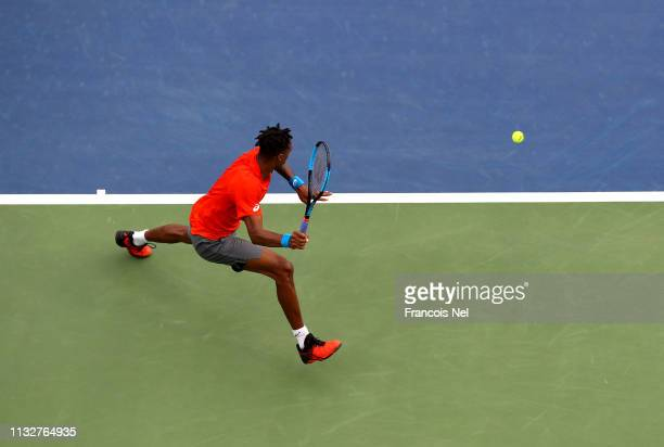 Gael Monlis of France in action against Ricardas Berankis of Lithuania during day twelve of the ATP Dubai Duty Free Tennis Championships at Dubai...