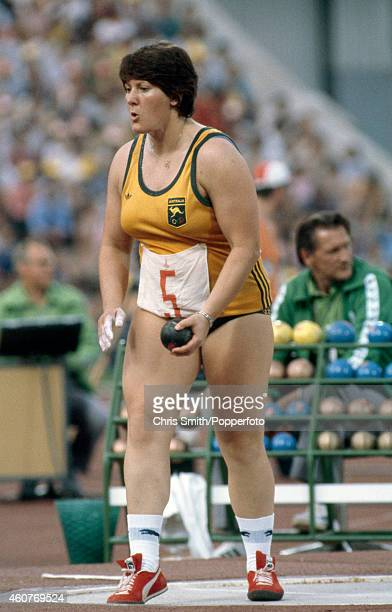 Gael Mulhall of Australia prepares to put the shot during the Summer Olympic Games in Moscow circa July 1980