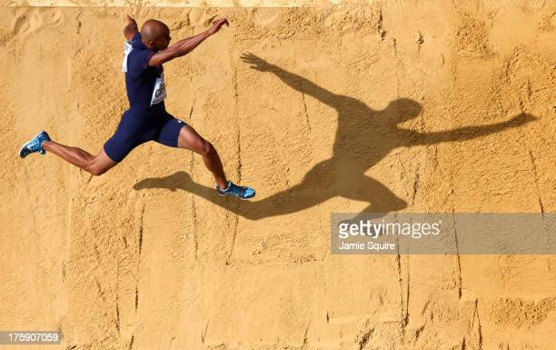 Gael Querin of France competes in the Men's Decathlon Long Jump during Day One of the 14th IAAF World Athletics Championships Moscow 2013 at Luzhniki...