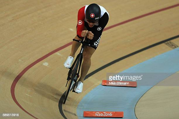 Gael Suter of Switzerland competes in the Men's Omnium Individual Pursuit on Day 9 of the Rio 2016 Olympic Games at the Rio Olympic Velodrome on...