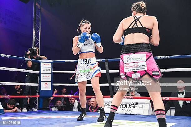 Gaelle Amand of France and Jelena Mrdjenovich of Canada during their featherweights bout for WBA and WBC title world championship on October 8 2016...